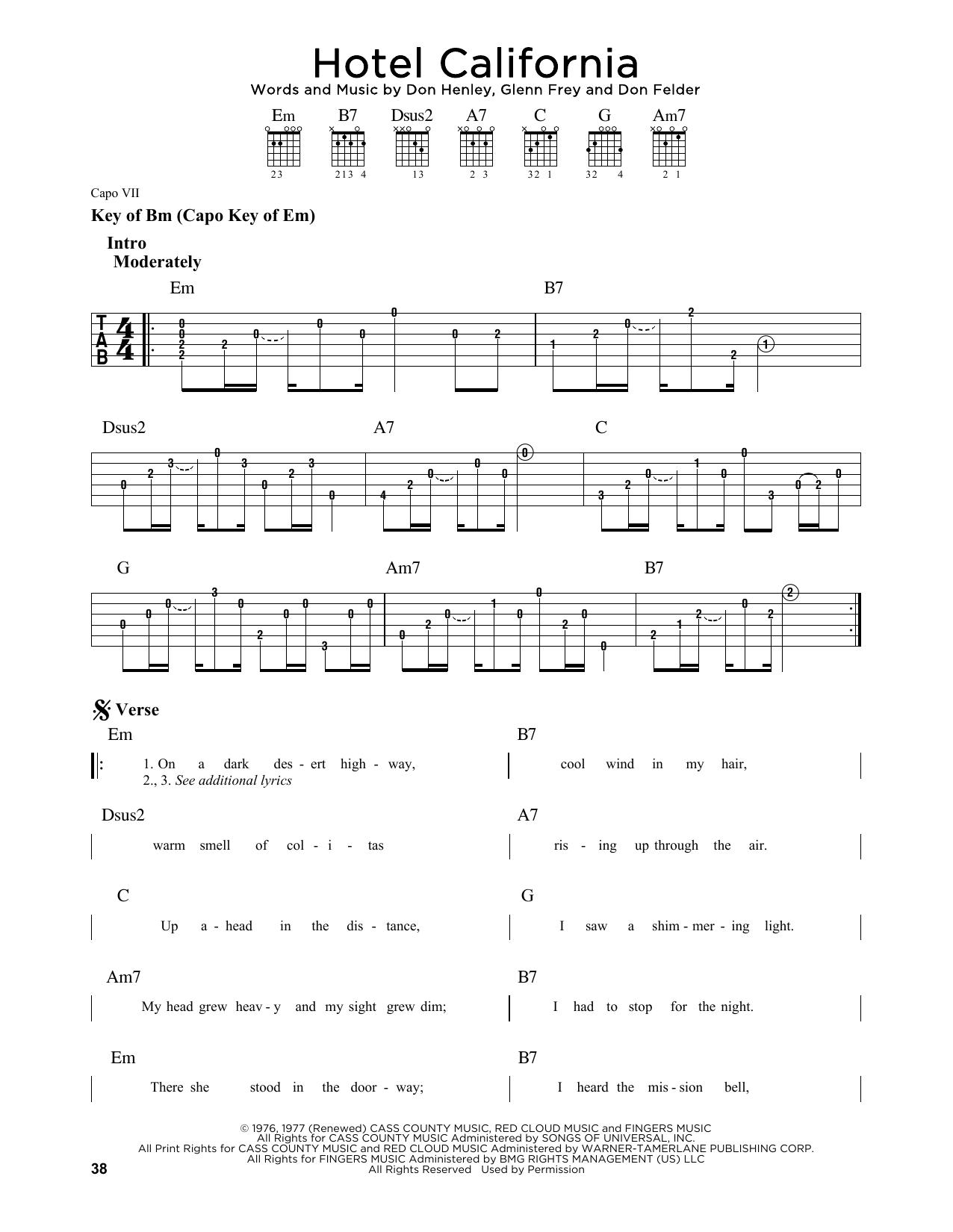 Hotel California by Eagles - Guitar Lead Sheet - Guitar Instructor