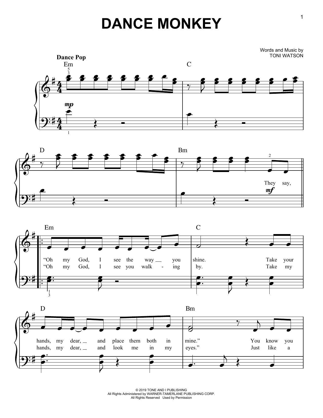 Dance Monkey Easy Piano