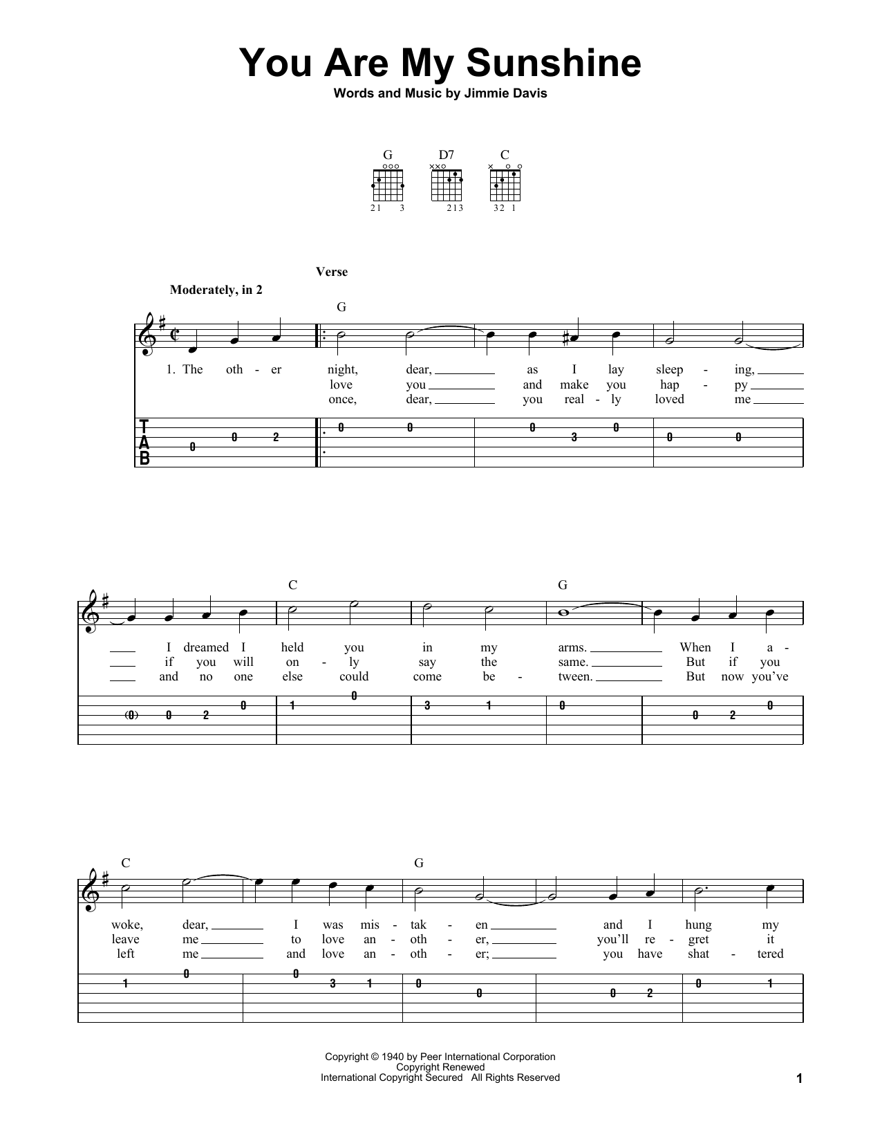 How To Play You Are My Sunshine On Guitar : sunshine, guitar, Sunshine, (Easy, Guitar, Print, Sheet, Music