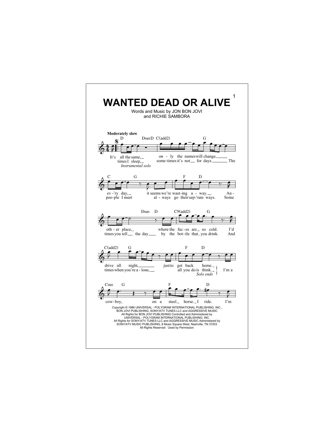 Wanted Dead Or Alive Lyrics And Chords : wanted, alive, lyrics, chords, Wanted, Alive, Sheet, Music