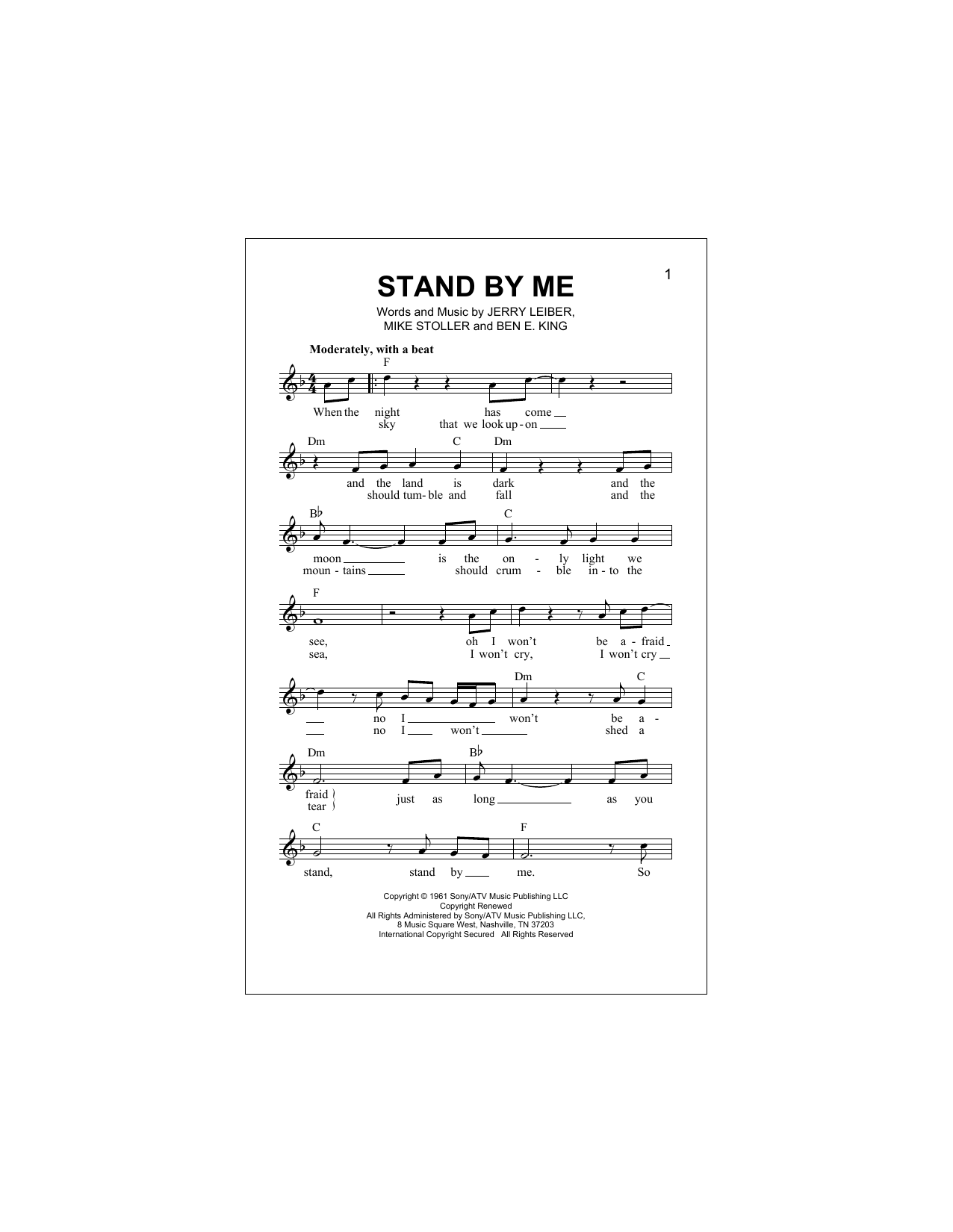 Parole Stand By Me : parole, stand, Stand, (Lead, Sheet, Book), Print, Music