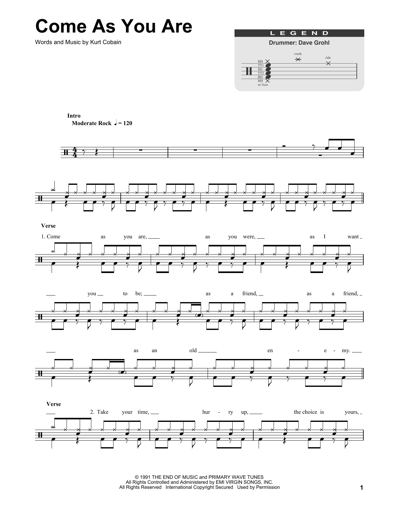 Come As You Are Notes : notes, (Drums, Transcription), Print, Sheet, Music