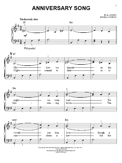 anniversary song easy piano