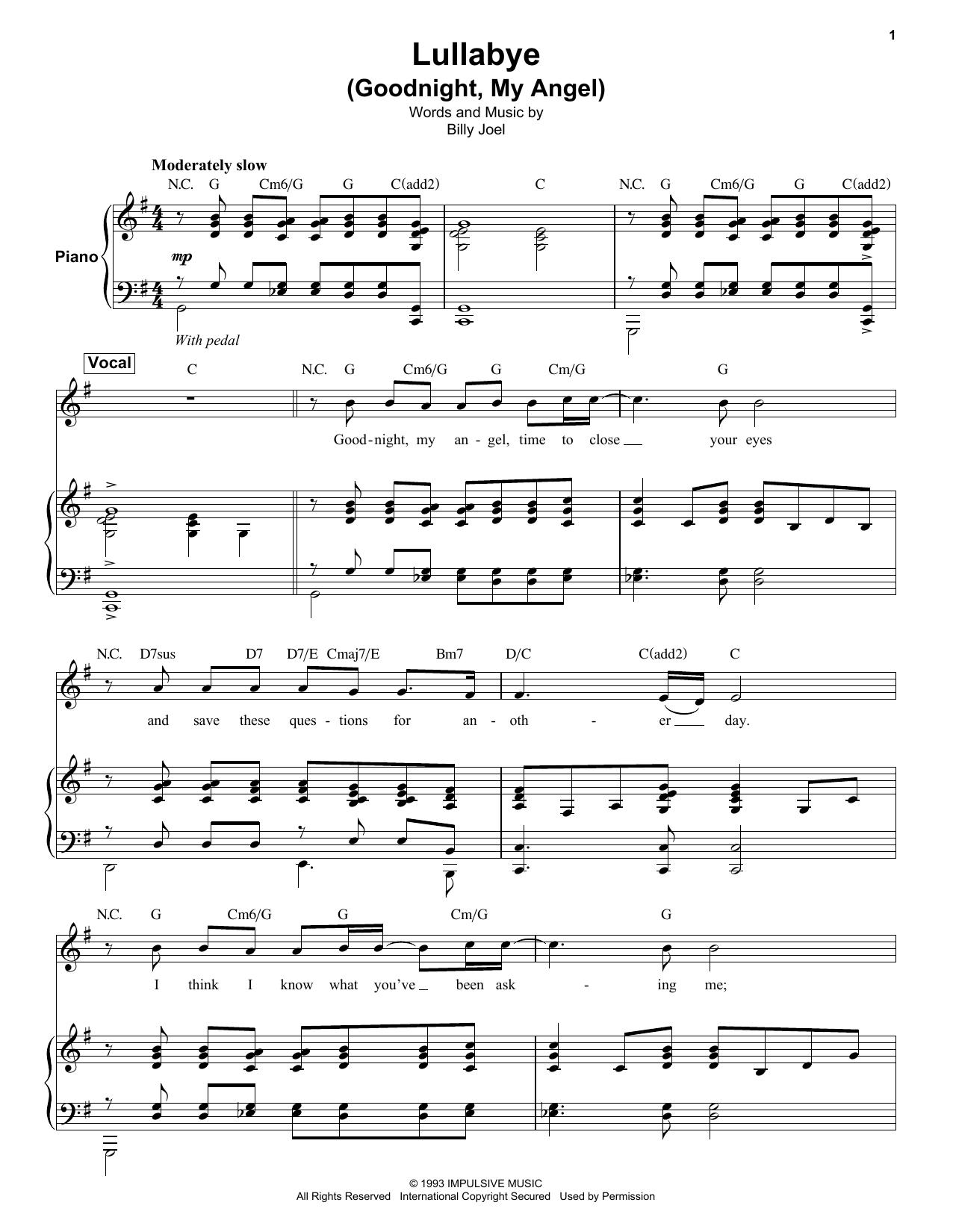 Billy Joel Lullaby Sheet Music : billy, lullaby, sheet, music, Lullabye, (Goodnight,, Angel), Sheet, Music, Billy, Keyboard, Transcription