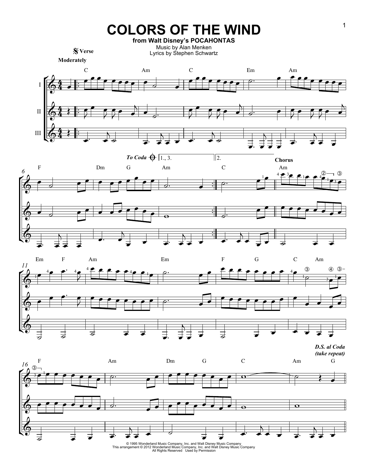 Colors Of The Wind Sheet Music
