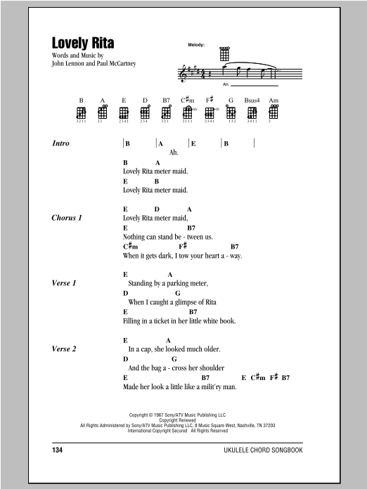 Lovely Rita Sheet Music The Beatles Ukulele With Strumming Patterns