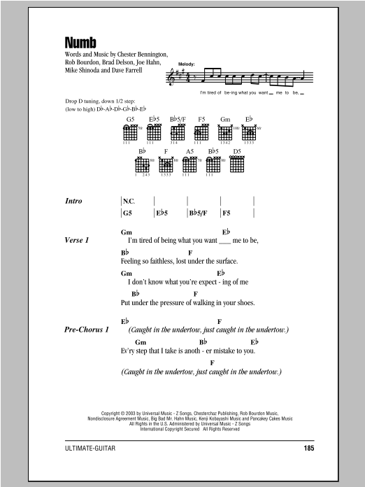 NUMB ACOUSTIC CHORDS by Linkin Park @ Ultimate-Guitar.Com