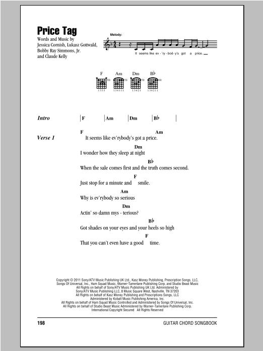 Price Tag Chords : price, chords, Price, Sheet, Music, Jessie, Guitar, Chords/Lyrics