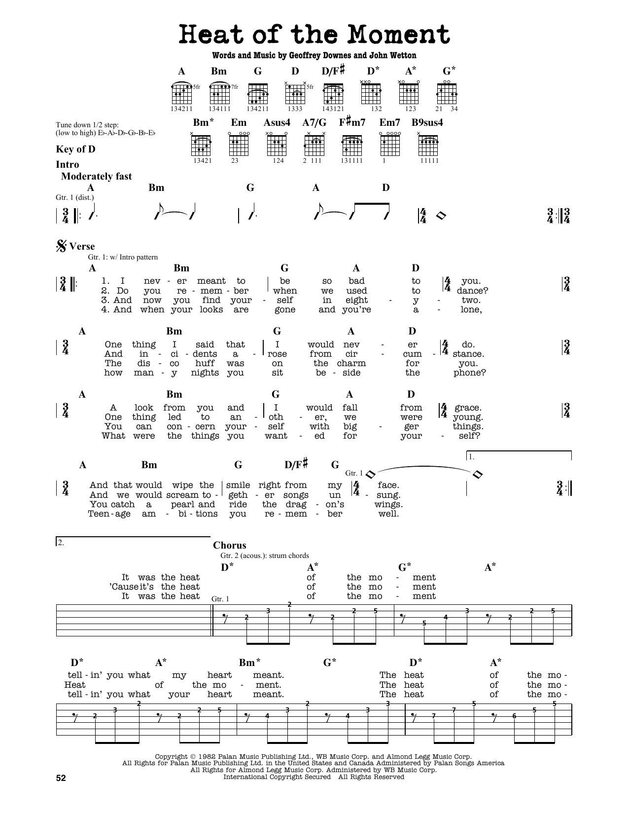 Heat Of The Moment Sheet Music