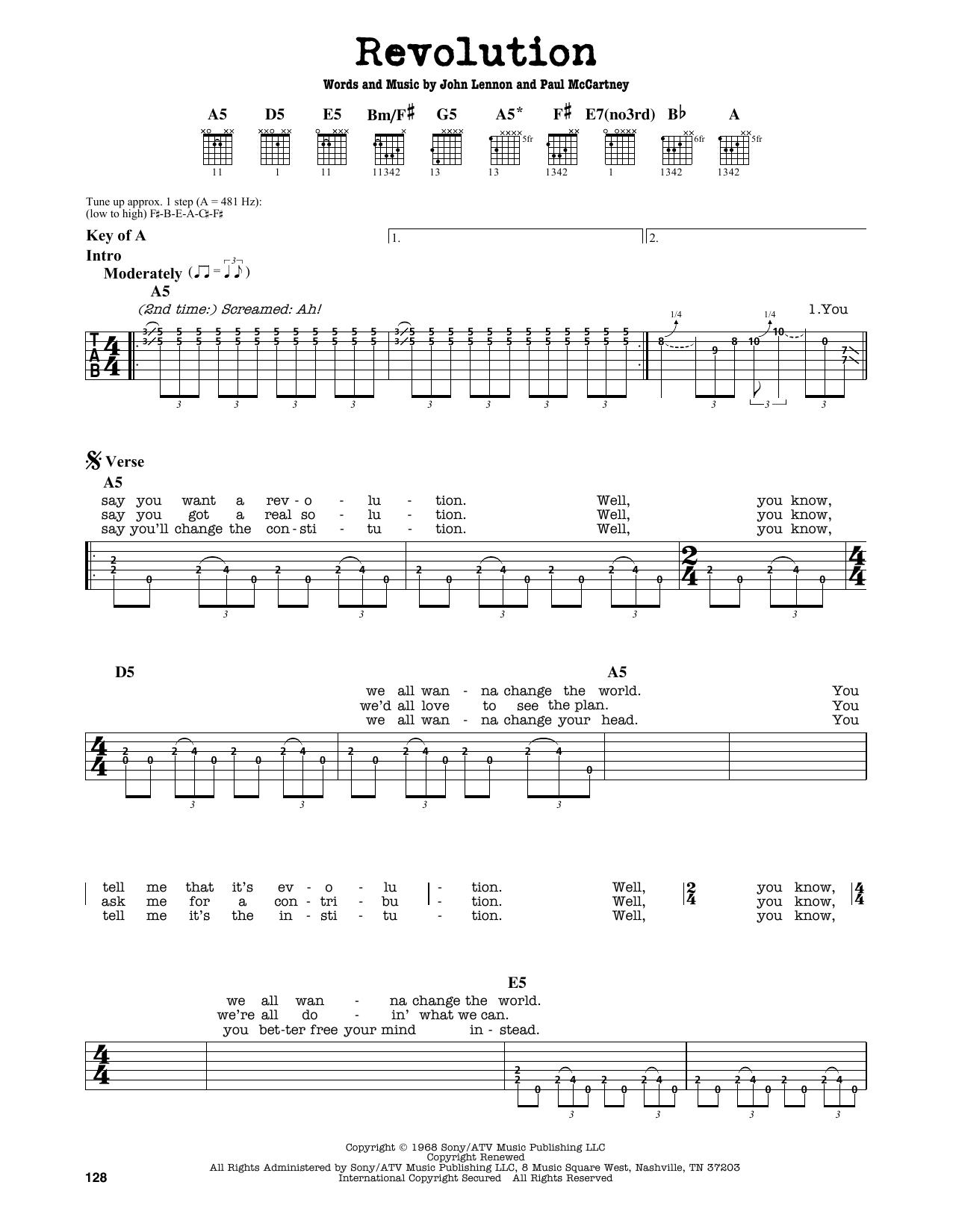 Beatles Revolution Guitar Chords