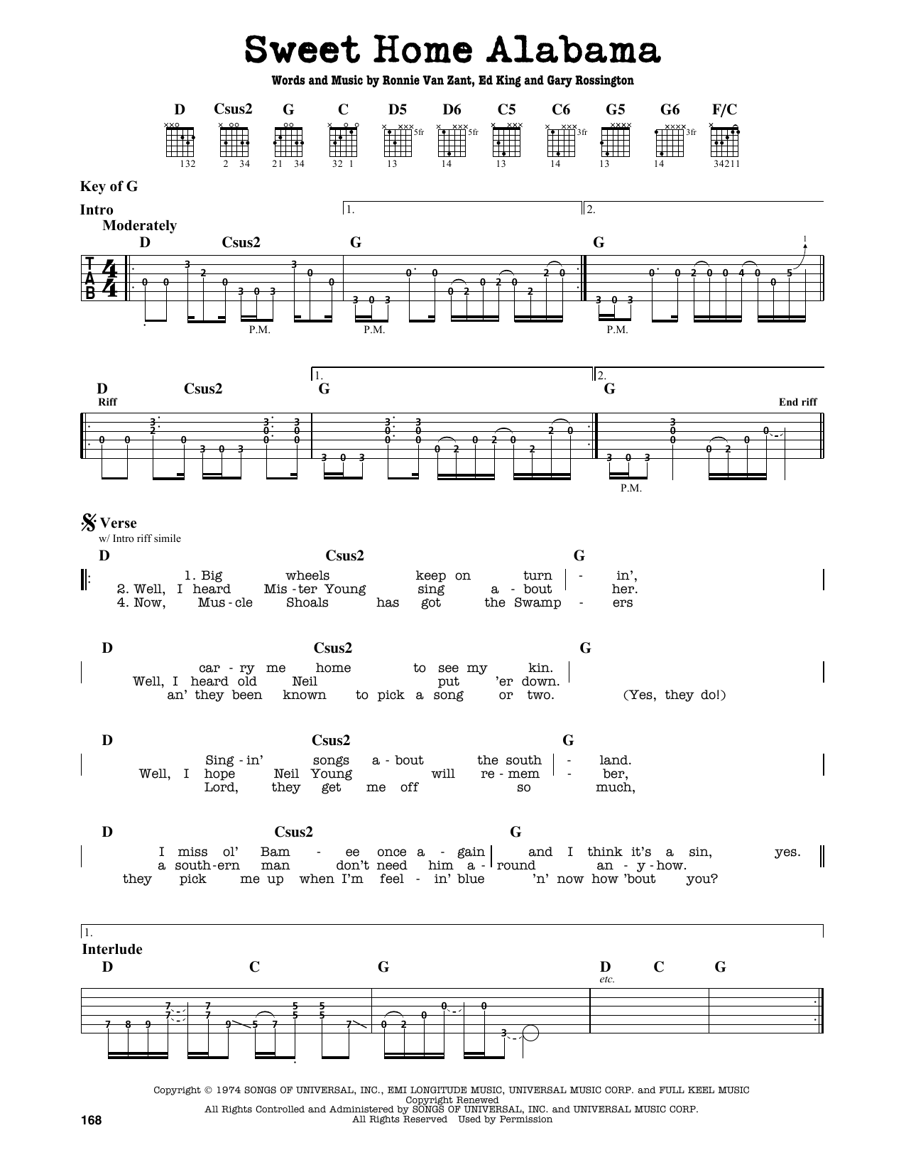 Where the skies are so blue and the governor's true. Sweet Home Alabama Sheet Music Lynyrd Skynyrd Guitar Lead Sheet