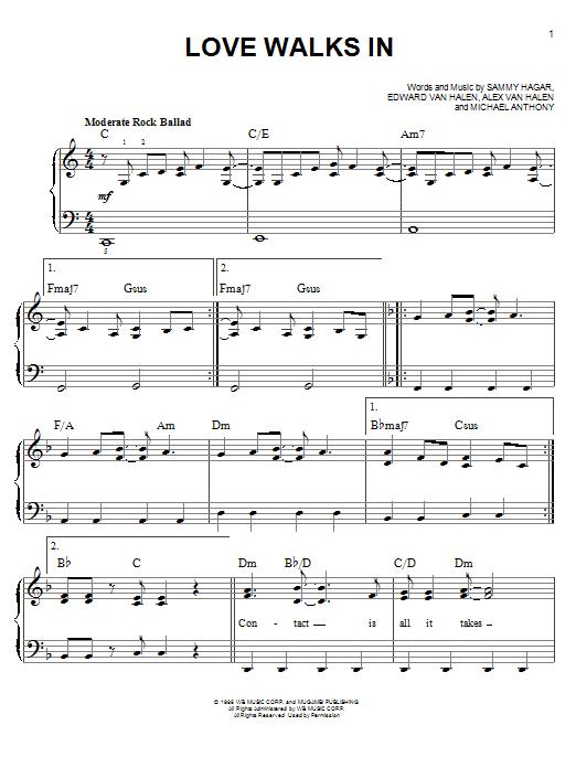 Love Walks Van Halen Chords