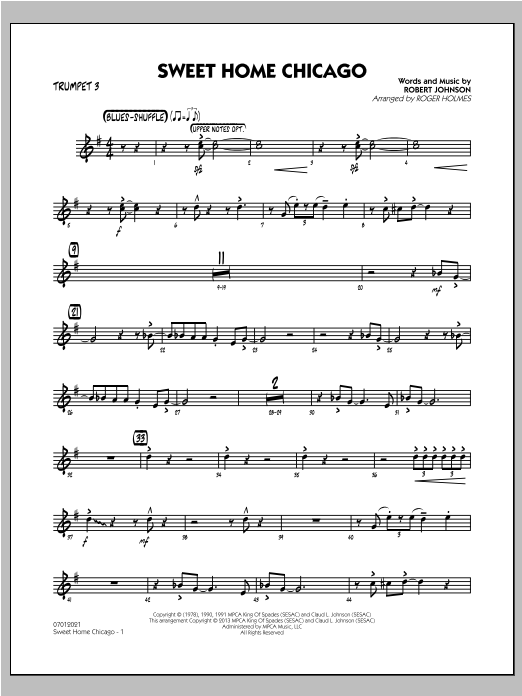 Guitarist and singer muddy waters (mckinley morganfield) was the dominant figure on the chicago blues scene. Sweet Home Chicago Trumpet 3 Sheet Music Roger Holmes Jazz Ensemble