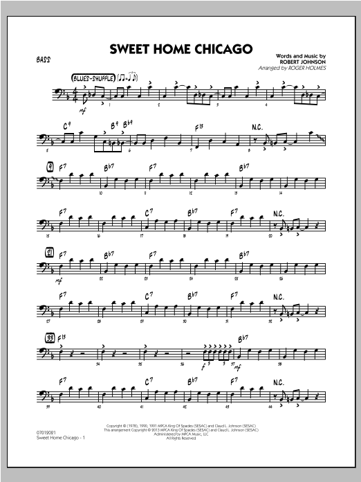 Sweet home chicago is a blues standard first recorded by robert johnson in 1936. Sweet Home Chicago Bass Atstanton S Sheet Music