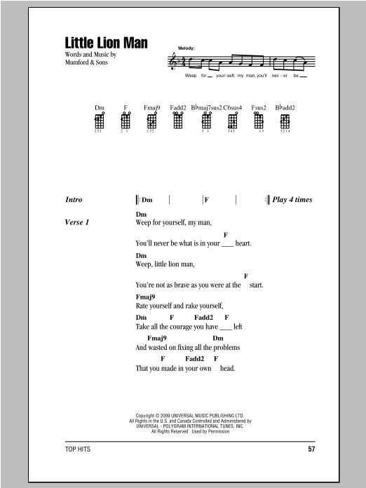 Little Lion Man Ukulele Chords : little, ukulele, chords, Little, Sheet, Music, Mumford, Ukulele, Chords/Lyrics
