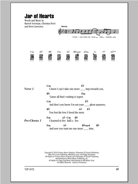 Jar Of Hearts Uke Chords : hearts, chords, Hearts, Sheet, Music, Christina, Perri, Ukulele, Chords/Lyrics