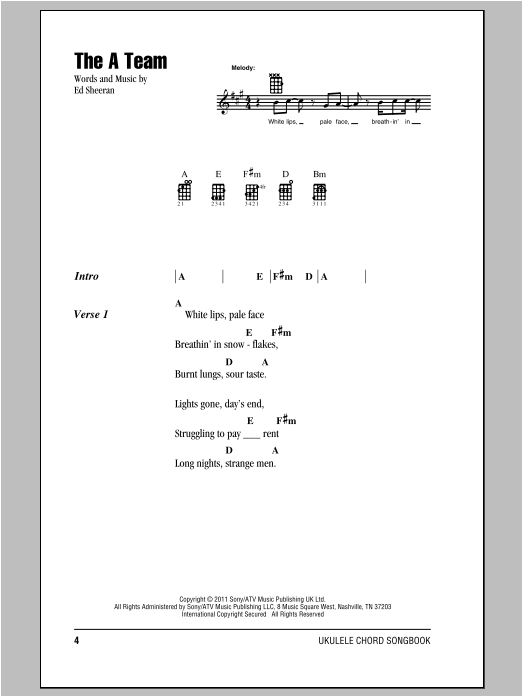The A Team Chord : chord, Sheet, Music, Sheeran, Ukulele, Chords/Lyrics