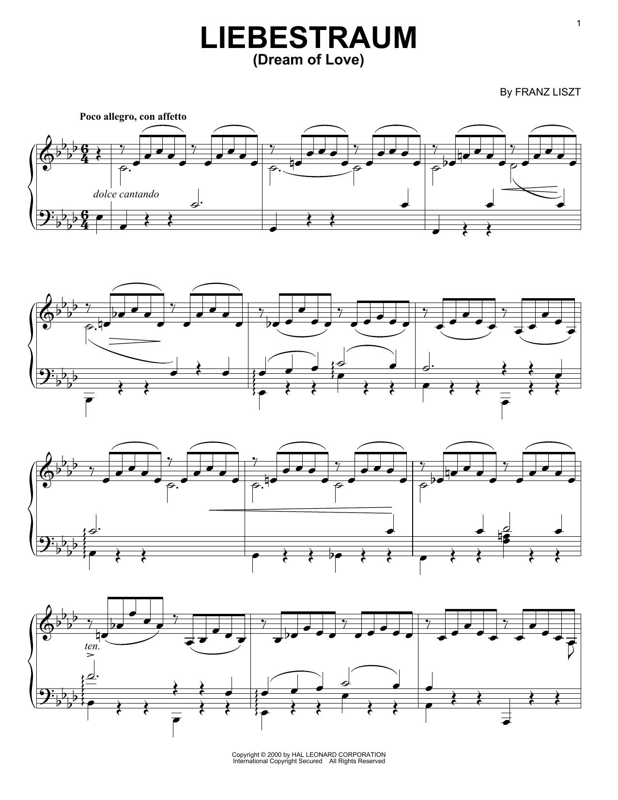 Liebestraum (dream Of Love) Sheet Music By Franz Liszt