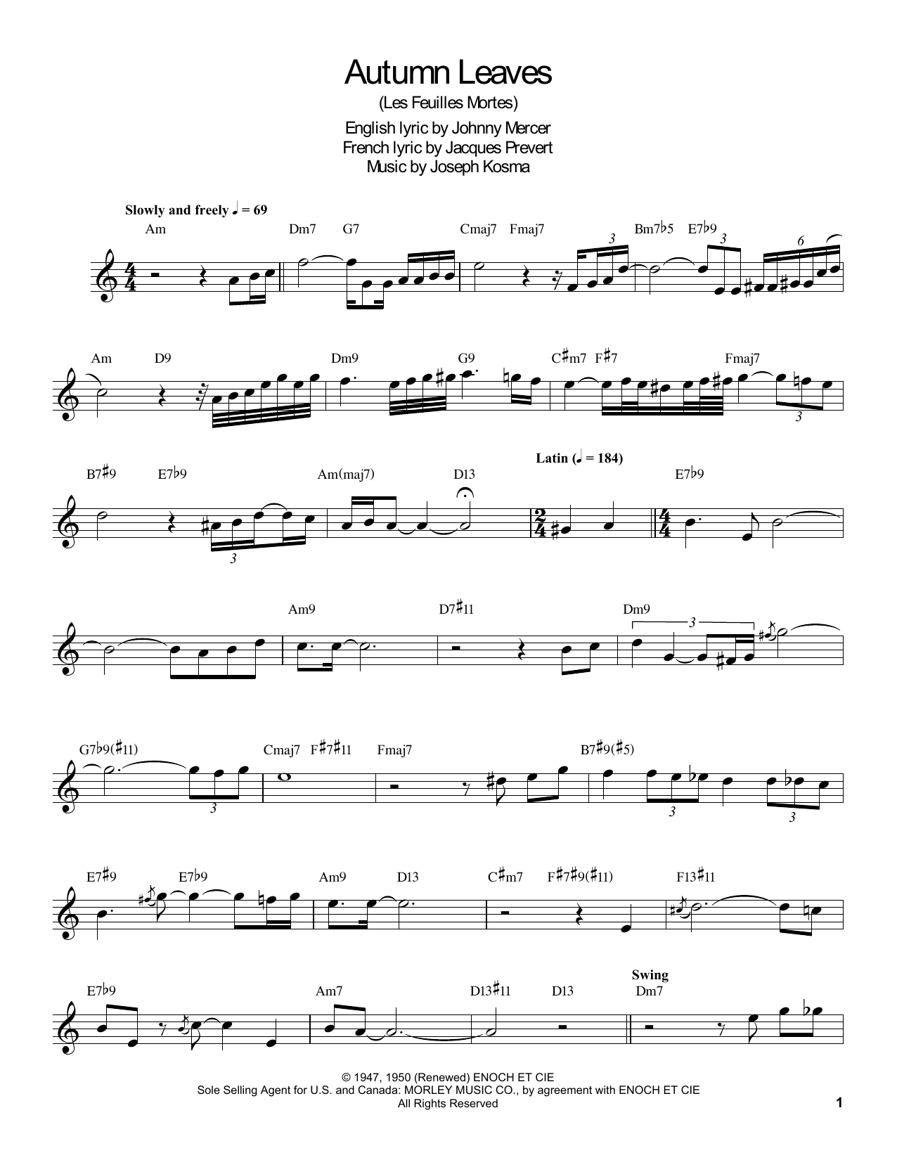 Autumn Leaves Sheet Music By Buddy Defranco Clarinet Transcription