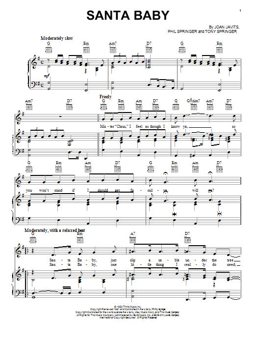 Santa Baby sheet music by Joan Javits (Piano, Vocal