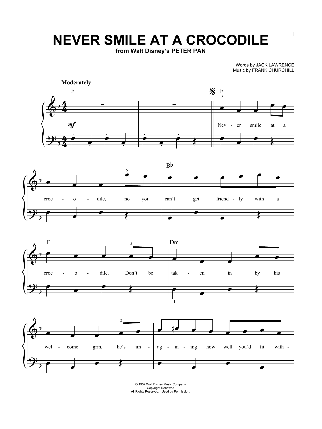 Never Smile At A Crocodile  Sheet Music Direct
