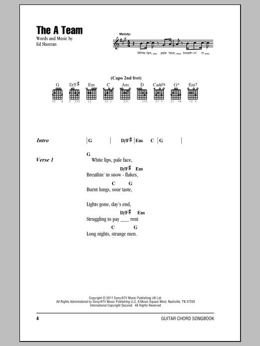 The A Team Chord : chord, Sheeran, Guitar, Chords/Lyrics, Instructor