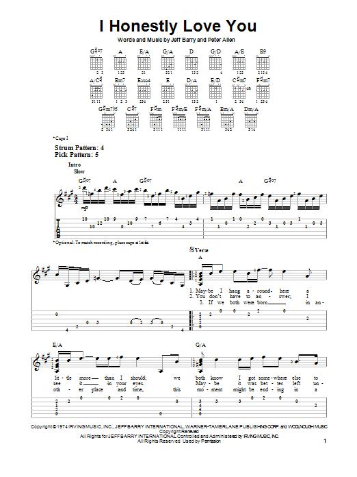 I Honestly Love You Sheet Music Olivia Newton John Easy Guitar Tab
