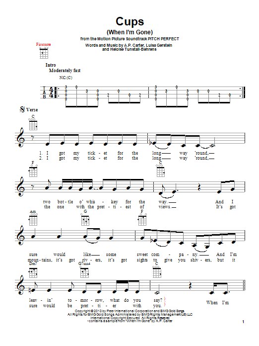 Cups Ukulele : ukulele, (When, Gone), (Ukulele), Print, Sheet, Music