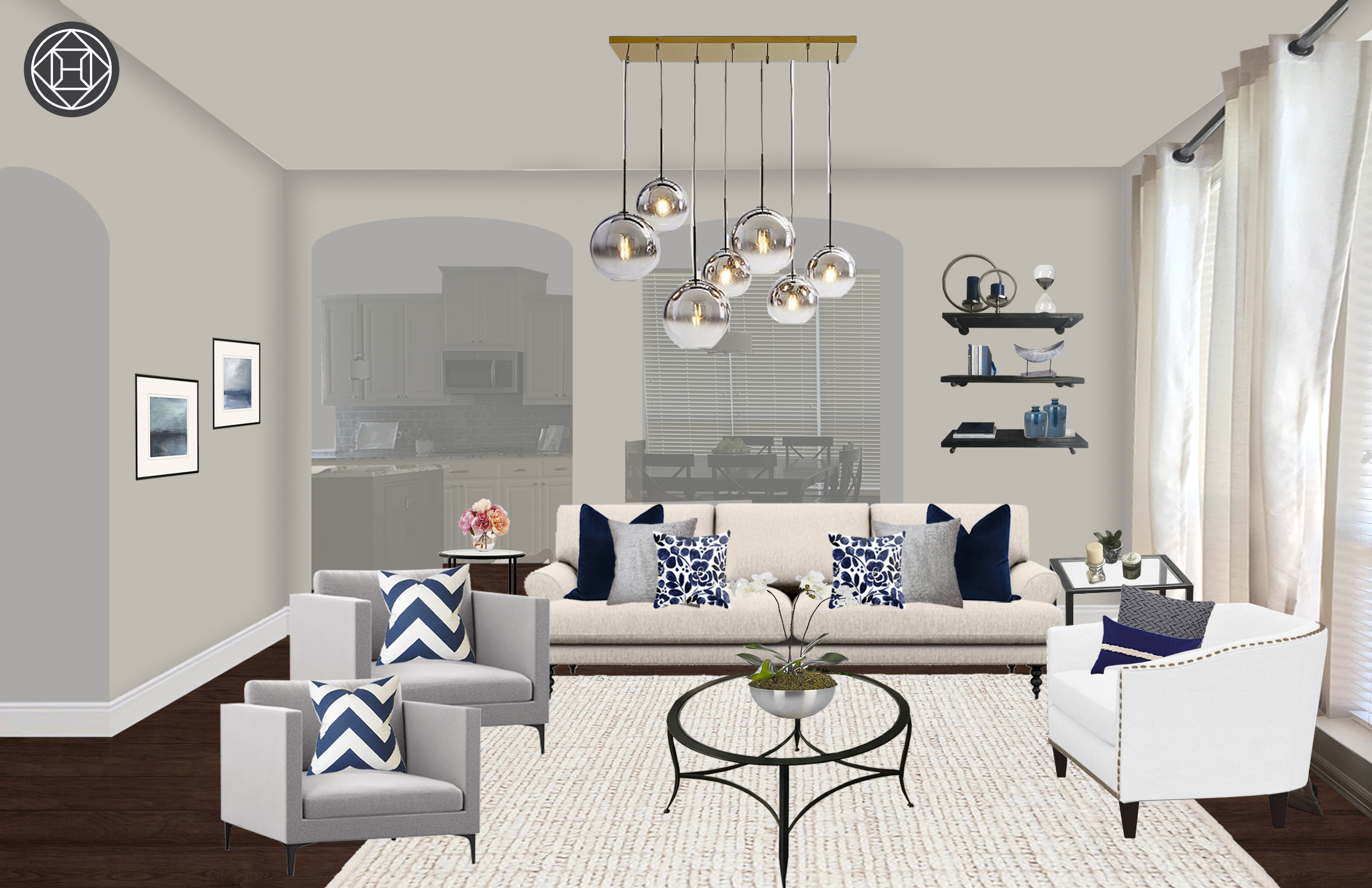 Contemporary Traditional Transitional Living Room Design