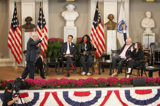 Michael Sandel Leads Celebrity Philosophy Class At Faneuil Hall