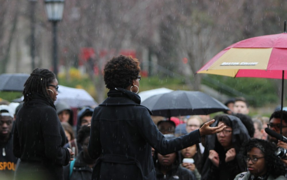 Dressed In Black, Hundreds At BC Rally Against Racist Acts In Missouri