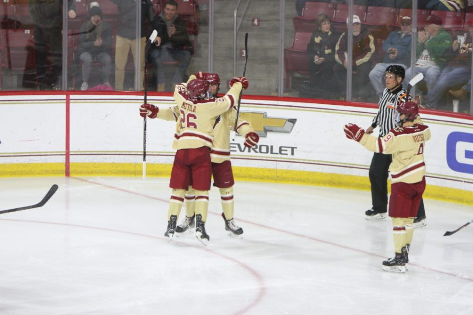 Mattila's Hat-Trick Leads Eagles to Comfortable Win at Connecticut