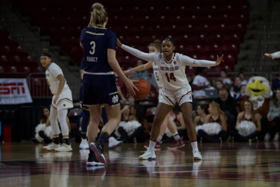 Eagles Drop Fourth Straight, Fall to No. 6 Notre Dame in Blowout
