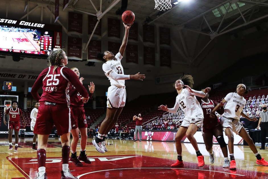 Three Double-Doubles Aid BC in Overtime Win Over UMass