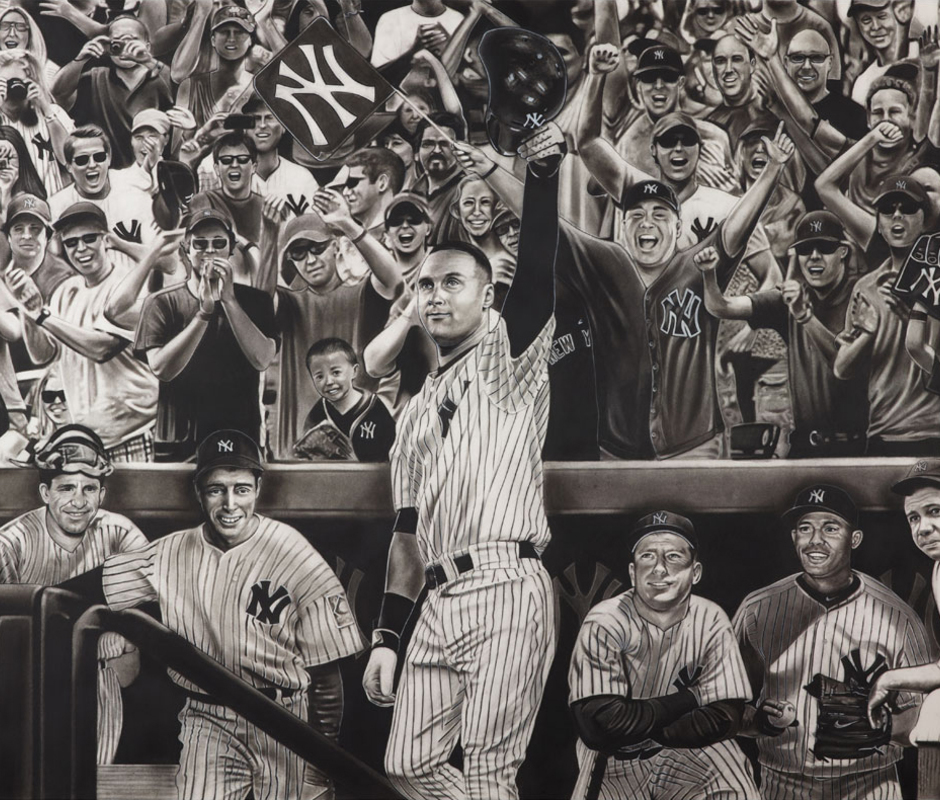 Hobrecht Sports Art Charcoal Paintings Of Famous