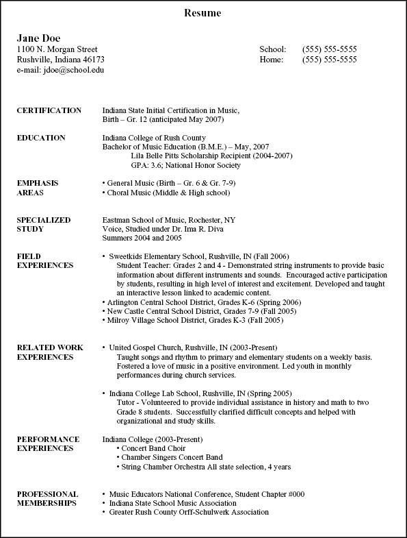 Activity Resume Template