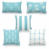 Hofdeco Decorative Throw Lumbar Pillow Cover Aqua