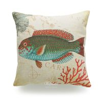 Decorative Throw Pillow Case Vintage Caribbean Sea Coral ...