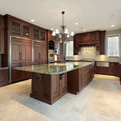 Kitchen Floor Cabinet Step Stools 43 Kitchens With Extensive Dark Wood Throughout Rich Tones Really Stand Out In This Light Featuring Tile Flooring And Green