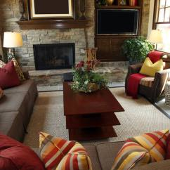 Orange Yellow And Brown Living Room Ideas Design Without Fireplace 25 Cozy Tips For Small Big Rooms Rustic With Brick Wall Containing A Television Sofas Are