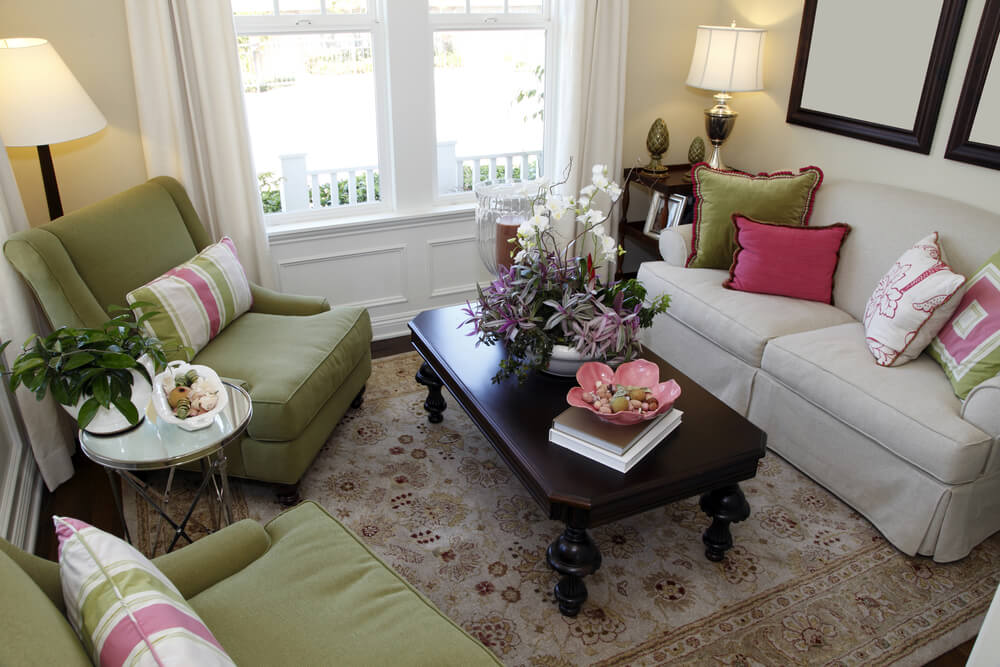 small living room sofa color feather filling for cushions 25 cozy tips and ideas big rooms tiny space in colorful design with green armchairs off white