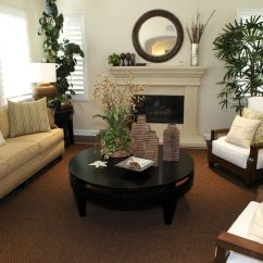 Living Room Designs With Brown Couches Pictures Area Rugs 25 Cozy Tips And Ideas For Small Big Rooms Wood Framed Armchairs Facing A Round Dark Coffee Table Light