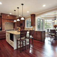 Wood Flooring For Kitchen Storage Containers 43 Kitchens With Extensive Dark Throughout Cherry And Natural Toned Cabinetry Warm Up This Featuring Attached Dining