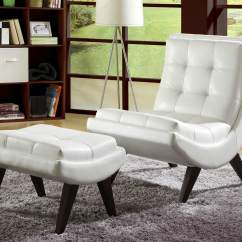 Living Room Chair With Ottoman Small Outdoor Patio Table And Chairs 37 White Modern Accent For The Contemporary Paired Comes In Faux Leather Button Tufting Curved