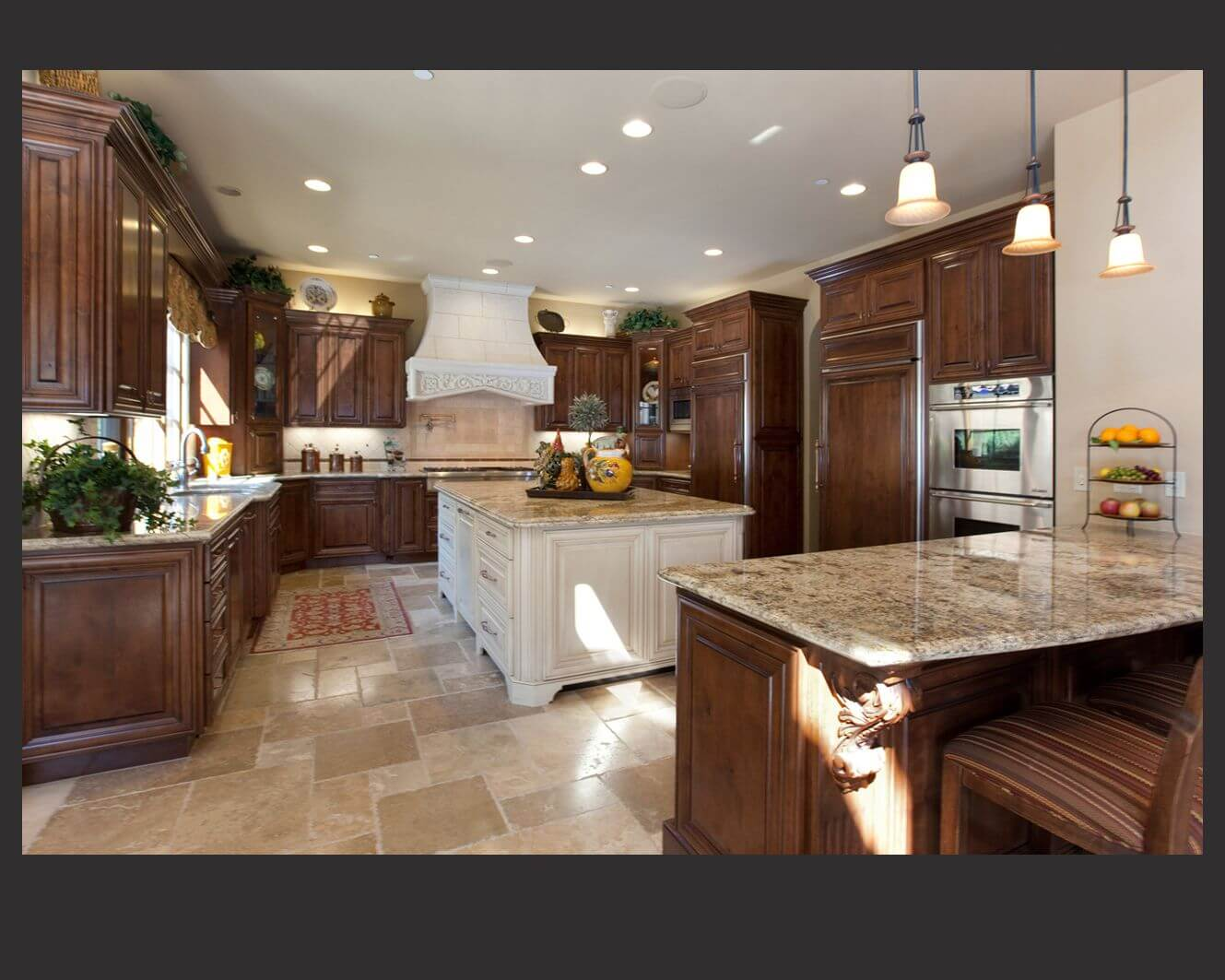 kitchen wood cabinets faucets at costco 52 dark kitchens with or black 2019 richly detailed u shaped centers cabinetry around large white painted