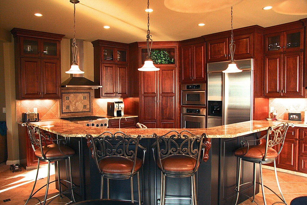 kitchen c modern mat 52 dark kitchens with wood or black cabinets 2019 corner oriented features cherry cabinetry floor to ceiling large shaped