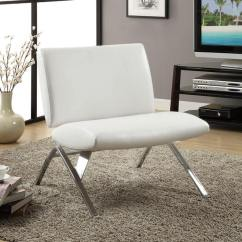 White Leather Chairs For Living Room Wood Log 37 Modern Accent The A Striking Angular Chrome Frame Supports This Minimalist Faux Chair With