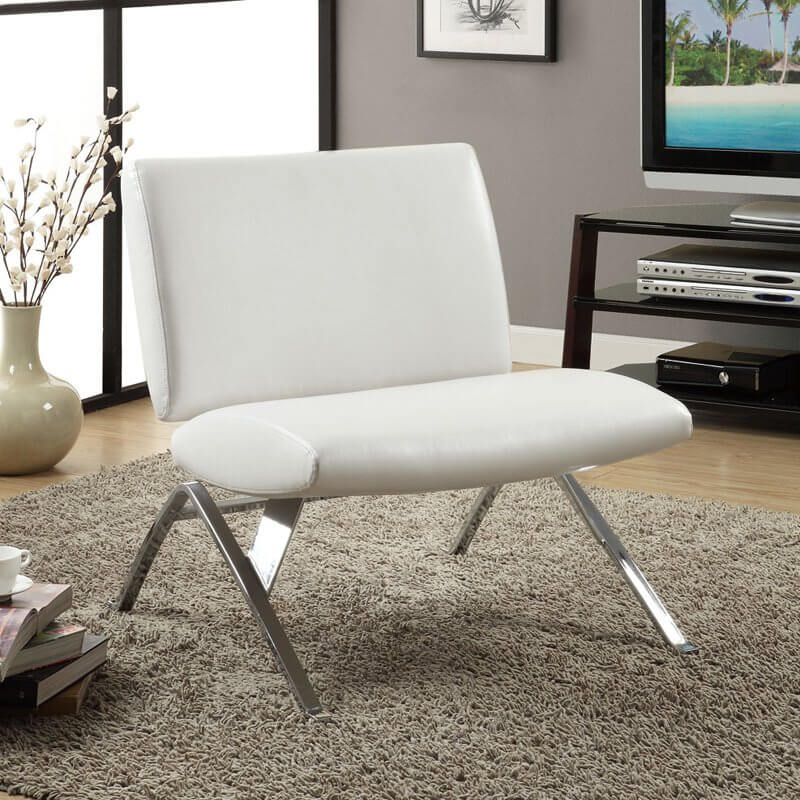 leather accent chairs for living room rugs rooms 37 white modern the a striking angular chrome frame supports this minimalist faux chair with