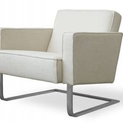 White Club Chairs Dining Chair Back Covers 37 Modern Accent For The Living Room This From Gus Features Classic Lines Of Upholstered Fabric Over A Cantilevered Stainless