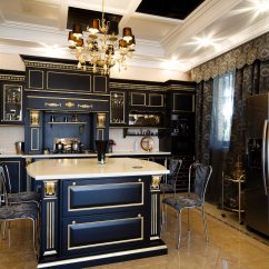 Beautiful Kitchen Cabinets Baltimore Remodeling 52 Dark Kitchens With Wood Or Black 2019 Ultra Luxurious Features Gilded Cabinetry Over Beige Marble Flooring White Countertops